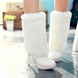 White High Heel Boots with Fur