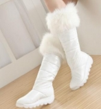 All White Fur Boots