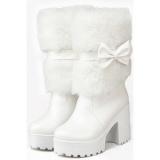 Faux Fur White Boots