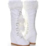 White Fur Boots Pom Pom