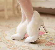 White Fur Boots with Heel