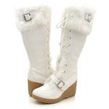 White Fur Tall Boots