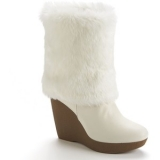 White Fur Wedge Boots