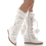 White Snow Boots With Fur