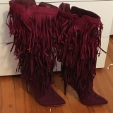 Extra Wide Calf Fringe Boots