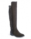 Side Fringed Wide Calf Boots