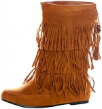 Wide Calf Brown Fringe Boots