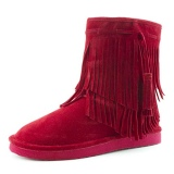 Wide Calf Fringe Ankle Boots