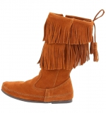 Wide Calf Fringe Boots