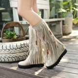 Wide Calf Fringed Boots