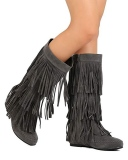 Women's Wide Calf Fringe Boots