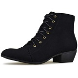 Lace Up Ankle Boots With Low Heel