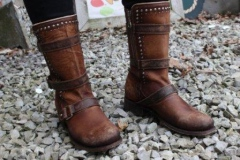 Women's Brown Studded Harness Boots