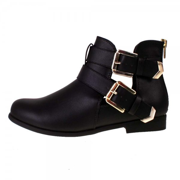 Black Ankle Boots Flat Heel