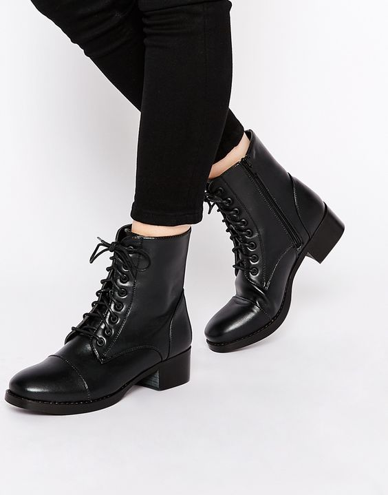 Black Lace Up Ankle Boots Flat - Online