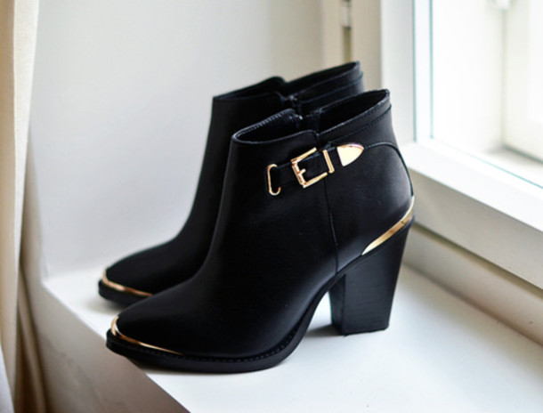 Buckle Black Ankle Boots Low Heel Women
