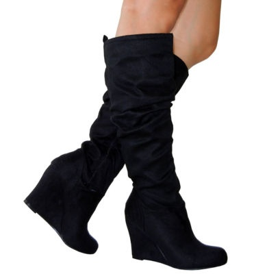 Wedge Slouch Boots Suede - Online Boots