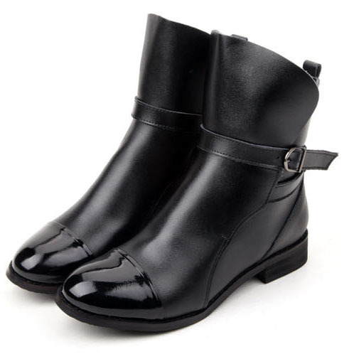 Black Leather Ankle Boots Women Flat