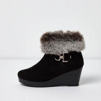 Black Fur Boots for Girls