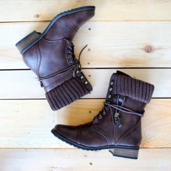 Dark Brown Sweater Combat Boots