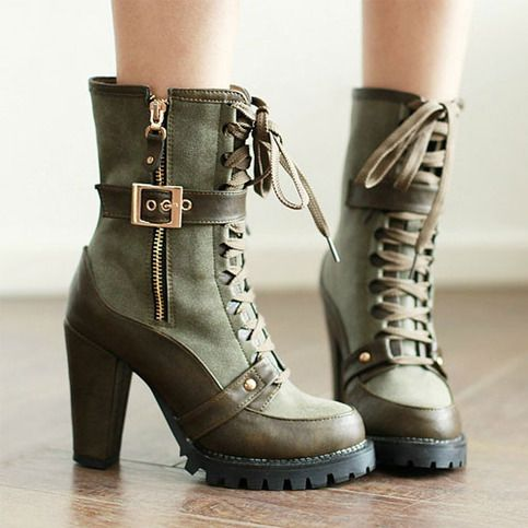 Green Heeled Combat Boots