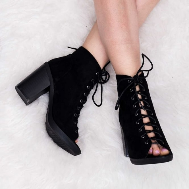 Lace Up Heeled Ankle Boot