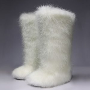 White Eskimo Boots with Fur