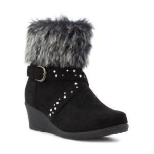 Fur Top Wedge Ankle Boots
