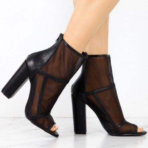 Women's Block Heel Peep Toe Boots