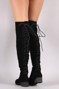 Back Lace Up Crushed Velvet Boots