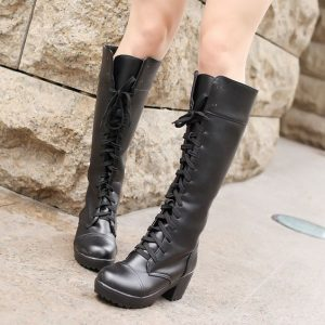 Black Vintage Lace Up Boots