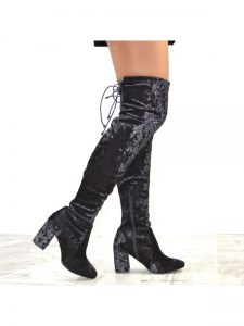 Block Heel Velvet Thigh High Boots