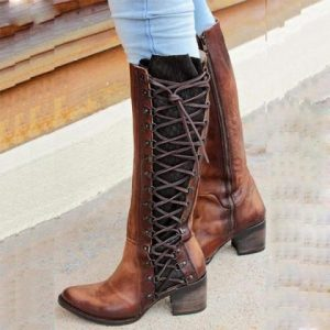Block Heel Vintage Lace Up Boots