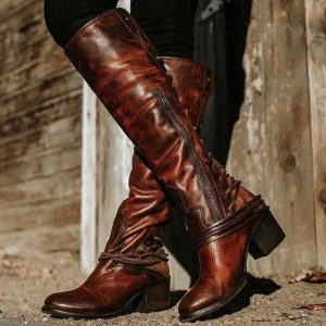 Brown Women's Vintage Lace Up Boots