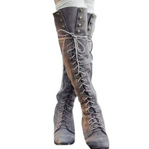 Grey Vintage Lace Up Boots Women