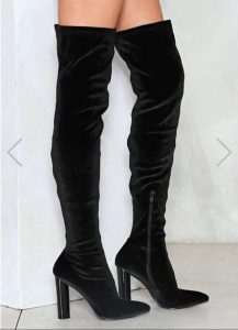 Over The Knee Black Velvet Boots
