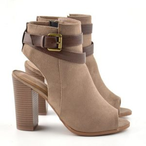 Peep Toe Cutout Heeled Booties
