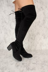 Round Toe Black Velvet High Boots