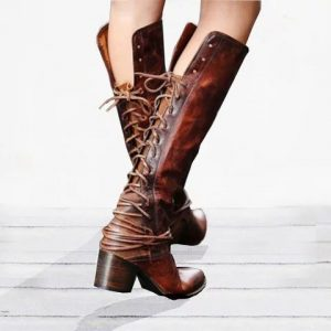 Vintage Lace Up Above Knee Boots
