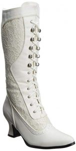 White Women's Vintage Lace Up Boots