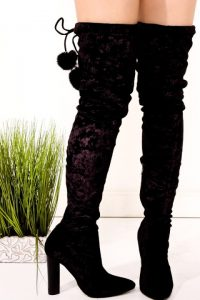 Women's Black Thigh High Velvet Boots
