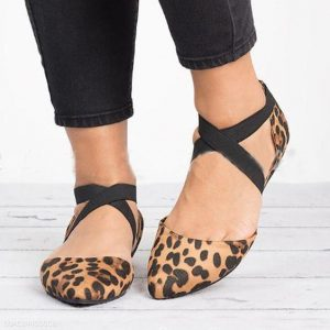 Ankle Strap Leopard Flats Pointed Toe