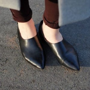 Black Leather Pointed Toe Flat Boots