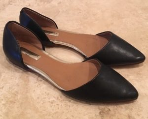 Black Leather Pointed Toe Flat Shoes