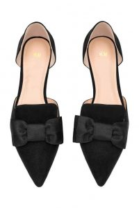 Black Leather Pointed Toe Flats With Bow