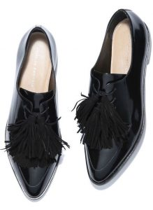 Black Leather Pointed Toe Flats With Fringes