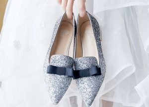 Black & Silver Pointed Toe Flats