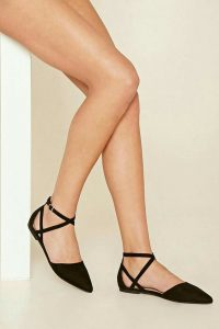 Black Strappy Pointed Toe Flats
