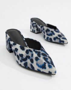 Blue Leopard Flats Pointed Toe