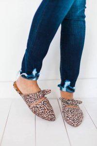 Bow Tops Leopard Flats